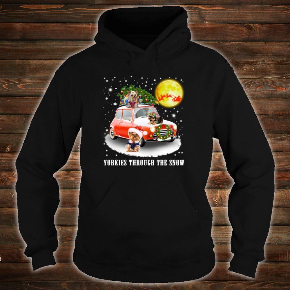 Yorkshire Terrier Dog Through Snow Christmas Shirt hoodie