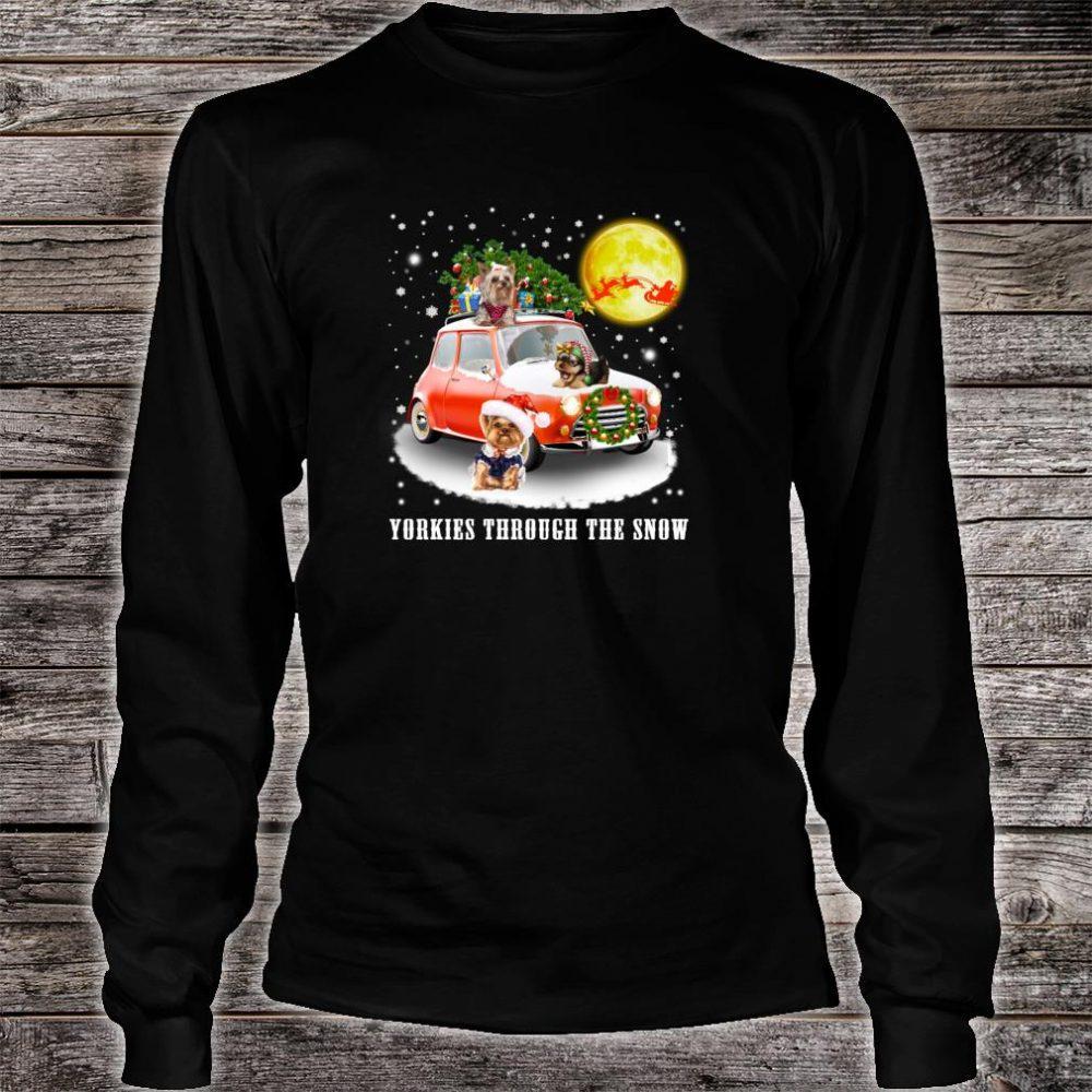 Yorkshire Terrier Dog Through Snow Christmas Shirt long sleeved