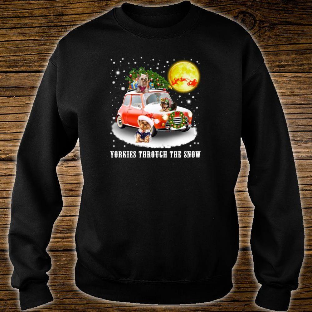 Yorkshire Terrier Dog Through Snow Christmas Shirt sweater